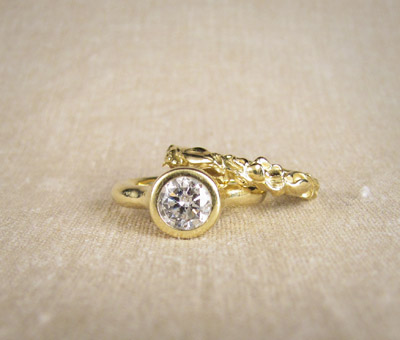 Diamond Solitaire with Rosebud Band