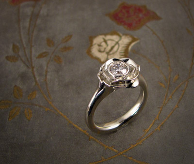 Blooming Rose Solitaire; 14K, diamond