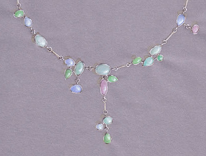 Chalcedony and opal necklace (detail)